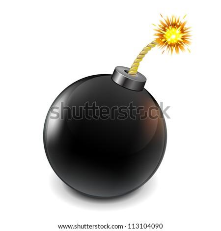 Black Bomb, Isolated On White Background, Vector Illustration - stock vector
