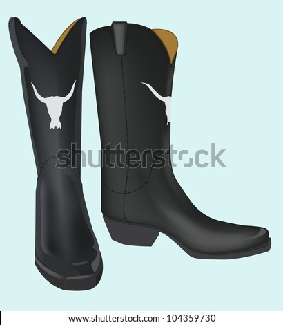 black boot with bull skull embed isolated on blue background - stock vector
