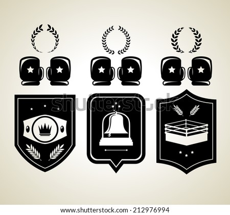 Black boxing gloves and winner shield awards isolated vector illustration - stock vector