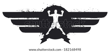 black boxing shield - stock vector