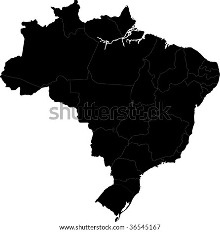 Black Brazil map with state borders - stock vector