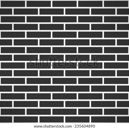 Black brick wall seamless pattern. Simple building stonewall background. Vector illustration - stock vector