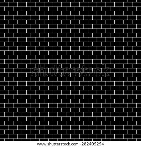 Black brick wall. Vector, seamless texture. - stock vector