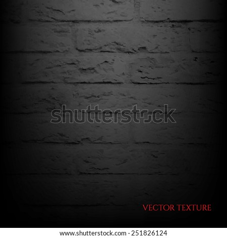 Black Brick Wall With Gradient Mesh, Vector Illustration - stock vector