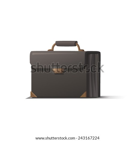 Black briefcase with shadow on white background, vector