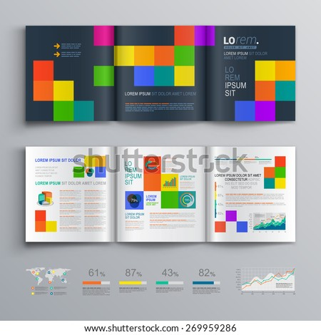 Black Brochure Template Design Color Square Stock Vector (Royalty ...