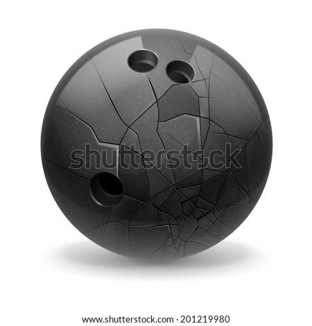 Black broken ball with cracks. White background. - stock vector