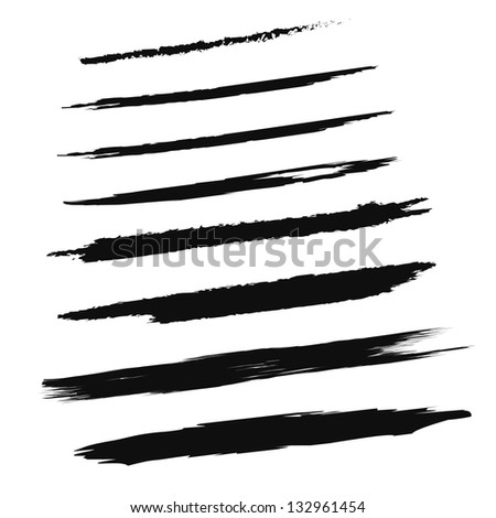 Black Brush Strokes - Set - Isolated On White Background - Vector Illustration, Graphic Design Editable For Your Design - stock vector