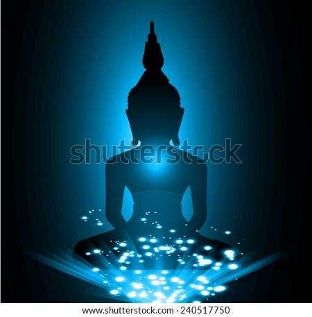 Black Buddha silhouette against Dark blue background - stock vector