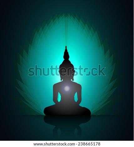 Black Buddha silhouette against Dark blue green background  - stock vector