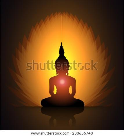 Black Buddha silhouette against dark orange background  - stock vector