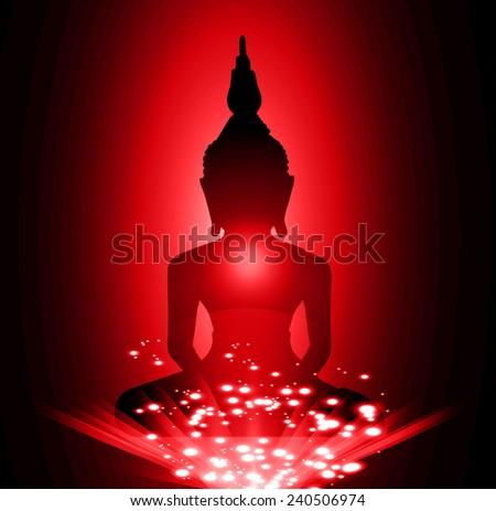 Black Buddha silhouette against Dark red background - stock vector
