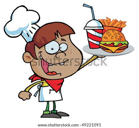 Black Burger Boy Holding Up A Cheeseburger,Fries And Drink