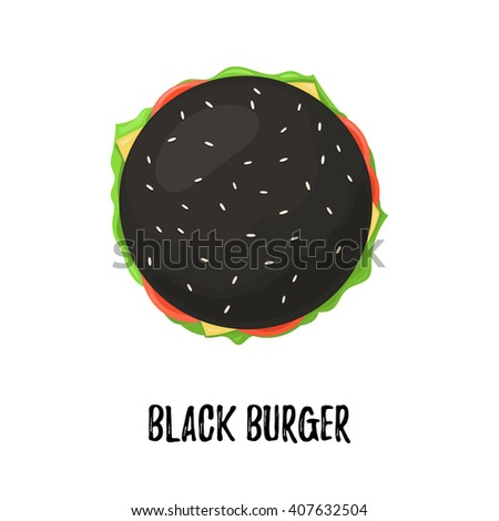 Black Burger with Cheese top view. Cheeseburger on bun black isolated on white background. Vector illustration for web design or print brochure - stock vector