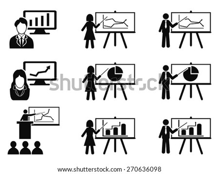 black Business lecture seminar meeting Presentation icons set - stock vector