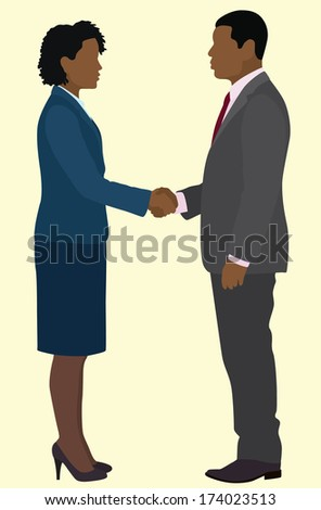 Black Business Man And Woman Shaking Hands