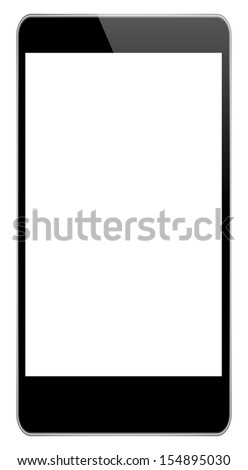 Black Business Phone In iPhone 6 Style Illustration Isolated On White Background - stock vector