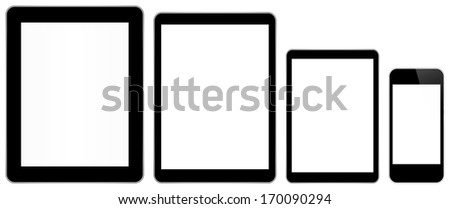 Black Business Tablets And Smart Phone In iPad And iPhone Style Isolated On White - stock vector