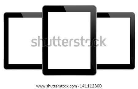 Black Business Tablets Similar To iPad - stock vector