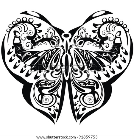 Black butterfly silhouette. Ornamental butterfly with flourish elements. Vector illustration on white background.