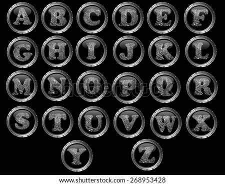 Black Button Alphabet (Hand created) - Black web buttons with fingerprint style letters  - stock vector
