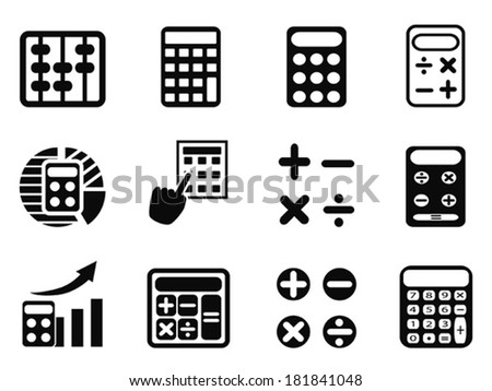 black Calculator icons set - stock vector