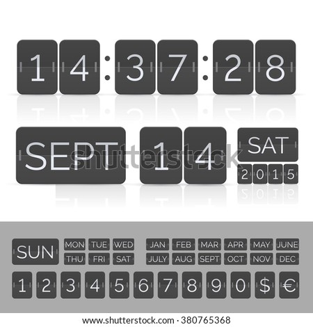 Black calendar with timer and scoreboard numbers. Vector EPS10 illustration