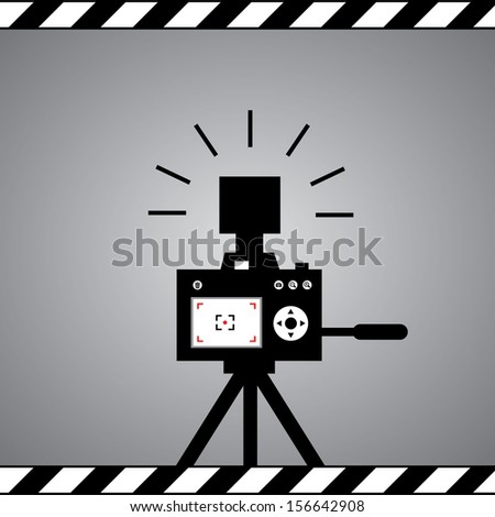 black camera symbol in framework - stock vector