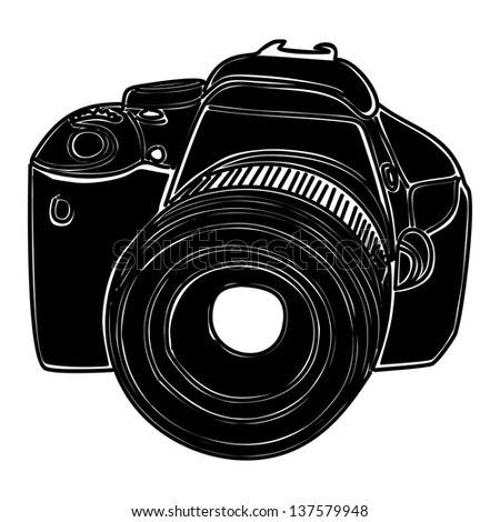 black camera vector isolated on white background - stock vector