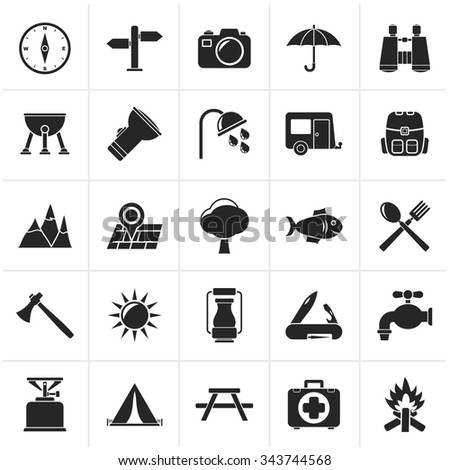 Black Camping and tourism icons - vector icon set - stock vector