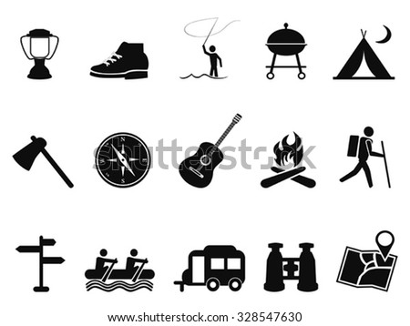 black camping icons set - stock vector
