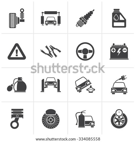 Black Car and road services icons - vector icon set - stock vector