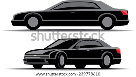 black car limousine front and side views isolated on white background - stock vector