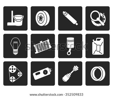 Black Car Parts and Services icons - Vector Icon Set 2