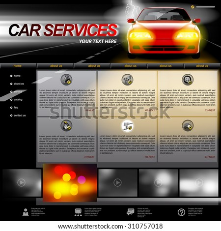 Black Car Services Website design template with a red car on night road, service and repair related icons. Vector illustration - stock vector