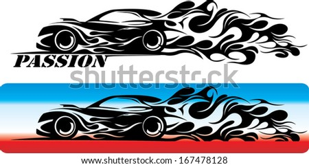 black car silhouette with a flame - stock vector