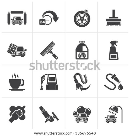 Black car wash objects and icons - vector icon set - stock vector