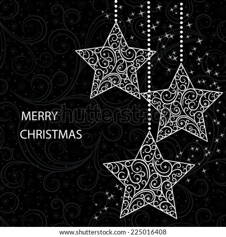 black card  with stylization christmas  stars - stock vector