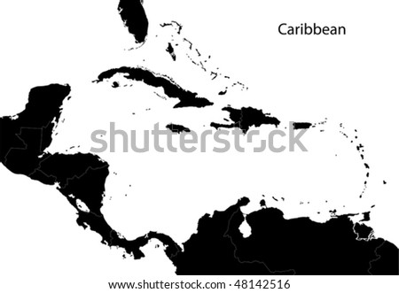 Black Caribbean map separated on the countries - stock vector