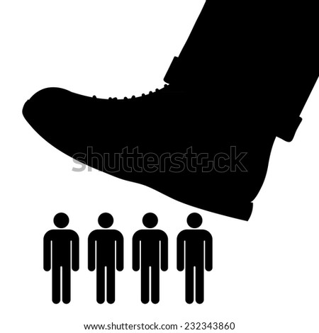 Black cartoon vector silhouette of a large foot about to tramp a row of people conceptual of oppression, tyranny and exploitation - stock vector