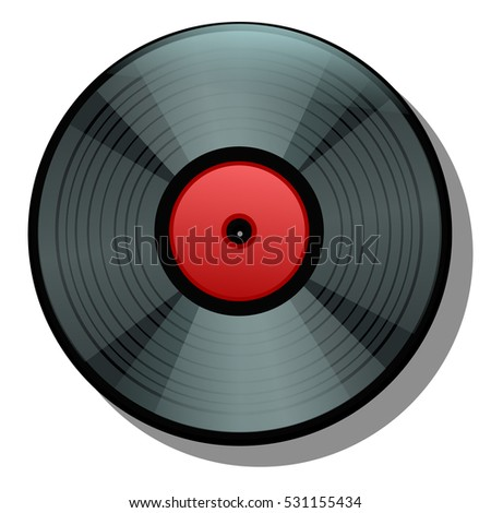 Black cartoon vinyl record isolated on white background. Vector illustration.
