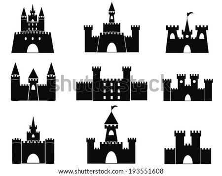 black castle icons - stock vector