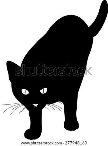black cat - stock vector