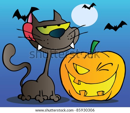 Black Cat And Winking Halloween Jackolantern Pumpkin With Bats On Blue - stock vector