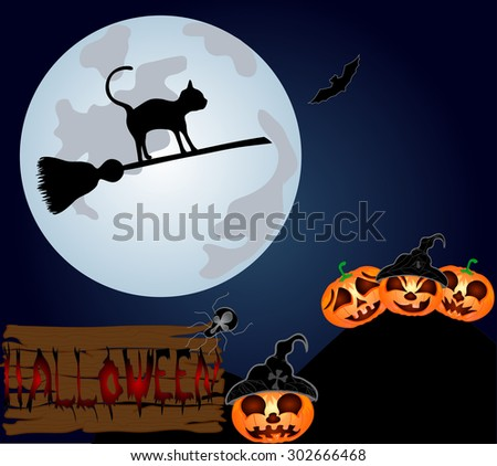 Black cat flying on a sweeper on the night sky. Vector illustration to Halloween