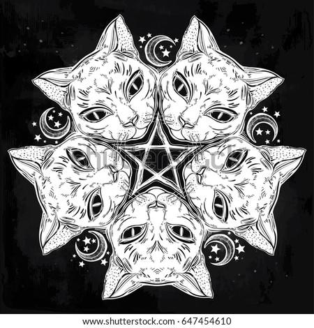 Black Cat Head Round Portrait Madnala With Moon