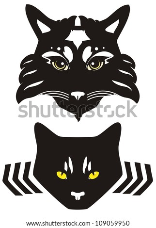 Black cat head with yellow eyes. Two options - stock vector