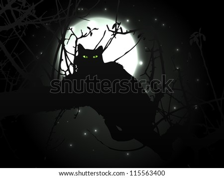 Black cat in night with moon - vector background - stock vector