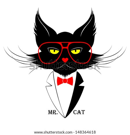 Black Cat in Red Glasses with Bow, Vector Illustration - stock vector