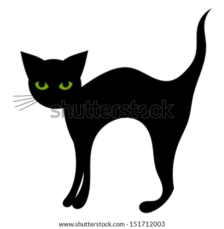 Black Cat Isolated Halloween Vector Illustration Stock Vector ...